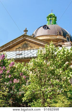 Dome Of The Temple And Blooming Lilacs