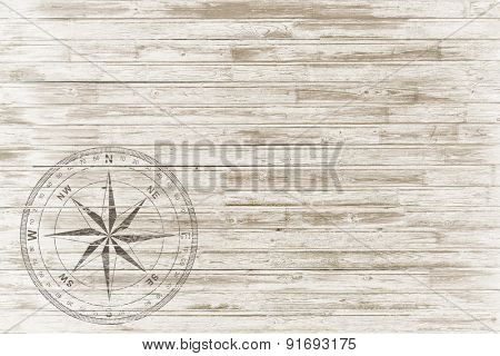 vintage white wood background with compass