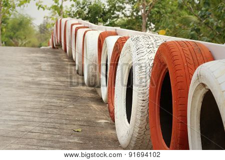 Tires On The Road At The Speedway.