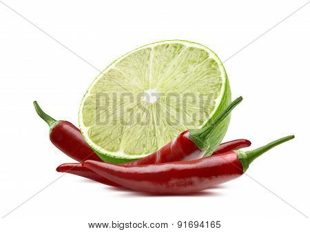 Lime Cut And Chili Isolated On White Background