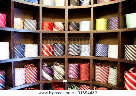 Shelf Full Of Fine Silk Neckties In A Italian Textile Store