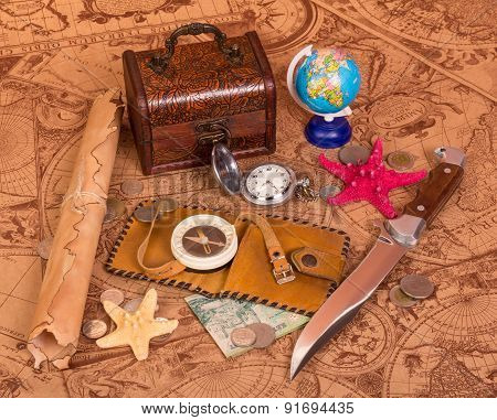 Old map and things for travel