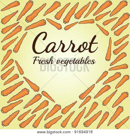 the heart of colorful carrots. food vector illustration