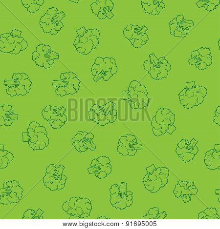 green broccoli seamless pattern. food vector background