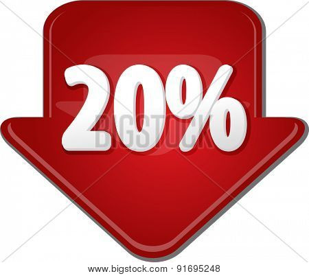 Downward glossy red arrow percent discount twenty 20