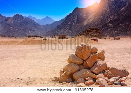 Rocks And Mountains In The Desert