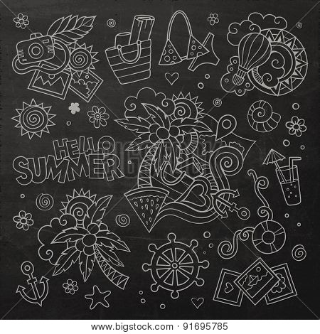 Summer and vacation chalkboard vector symbols