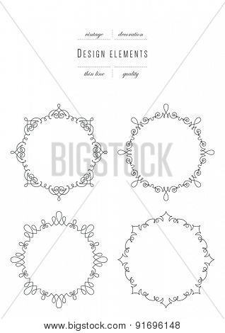 Set of calligraphic template elegant ornament lines