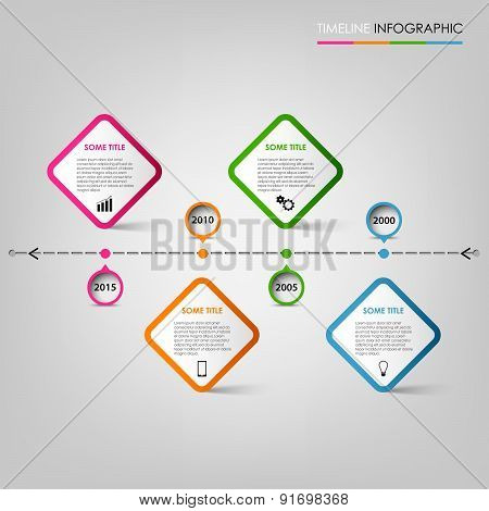 Time Line Info Graphic With Colored Pointers Design Element