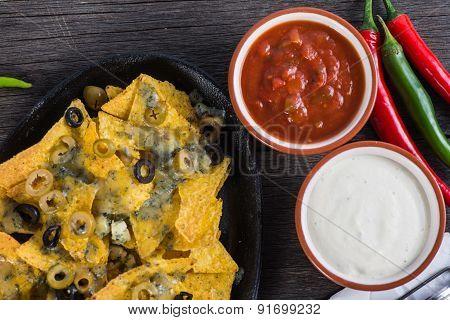 Mexican Hot Street Food Nachos With Salsa Dip