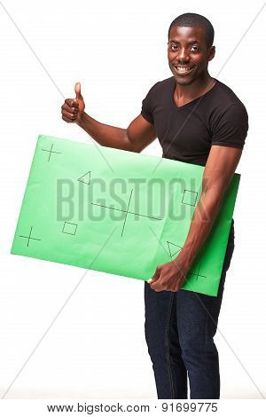 The smiling african man as black businessman with green panel