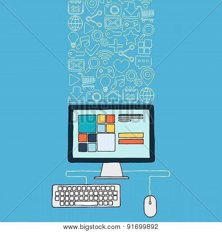 Hand drawn desktop computer with web icons.