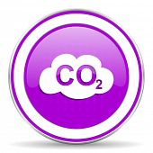 stock photo of carbon-dioxide  - carbon dioxide violet icon co2 sign - JPG