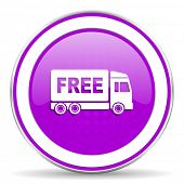 image of free-trade  - free delivery violet icon transport sign