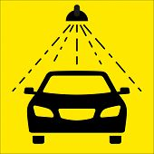 foto of pressure-wash  - The image of the car silhouette in the car wash on the yellow background - JPG