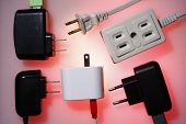 stock photo of electric socket  - Photo of Electrical socket and electrical plugs - JPG
