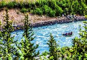pic of raft  - Illustration rafting on a river with texture - JPG