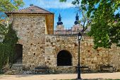 picture of fortified wall  - Fortified Wall and Lantern in Front of It - JPG