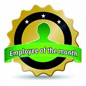 stock photo of employee month  - golden ribbon for the employee of the month - JPG