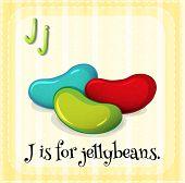 foto of letter j  - Flashcard letter J is for jellybeans - JPG