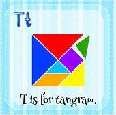 picture of letter t  - Flashcard letter T is for tangram - JPG