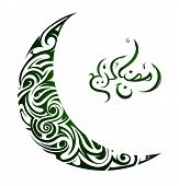 stock photo of crescent  - Ornamental crescent moon with Holy month Ramadan greetings - JPG