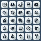 pic of trade  - flat icons set of transportation and logistics industry and trade in black and shaded - JPG