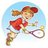 picture of sportive  - Cartoon illustration of sportive girl playing tennis - JPG