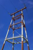 stock photo of power transmission lines  - Powerful power line on background blue sky - JPG