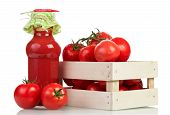 pic of wooden crate  - Tomatoes in wooden crate on white background - JPG