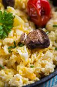 picture of scrambled eggs  - healthy breakfastfrying scramble eggs and grilled vegetables  - JPG