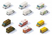stock photo of rear-end  - Set of the different types of isometric step vans - JPG