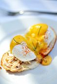 stock photo of benediction  - Close up yummy egg benedict in white plate - JPG