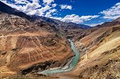 foto of jammu kashmir  - Beautiful Zanskar river flowing through rocks of Ladakh Jammu and Kashmir India natural landscape and scenic view of waterbody riverbank aerial view - JPG