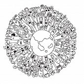 picture of population  - Vector illustration of Monsters Population of Our World  - JPG