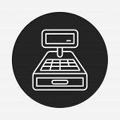 stock photo of cash register  - Cash Register Line Icon - JPG
