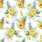 foto of jungle flowers  - Beautiful vector pattern with watercolor tropical flowers - JPG
