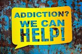 "stock photo of addict  - ""Addiction we can help"" yellow banner on a textural background. Design template - JPG"