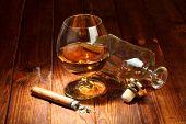 stock photo of cigar  - Cognac in bottle - JPG