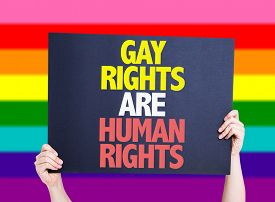 stock photo of human-rights  - Gay Rights Are Human Rights card with rainbow background - JPG