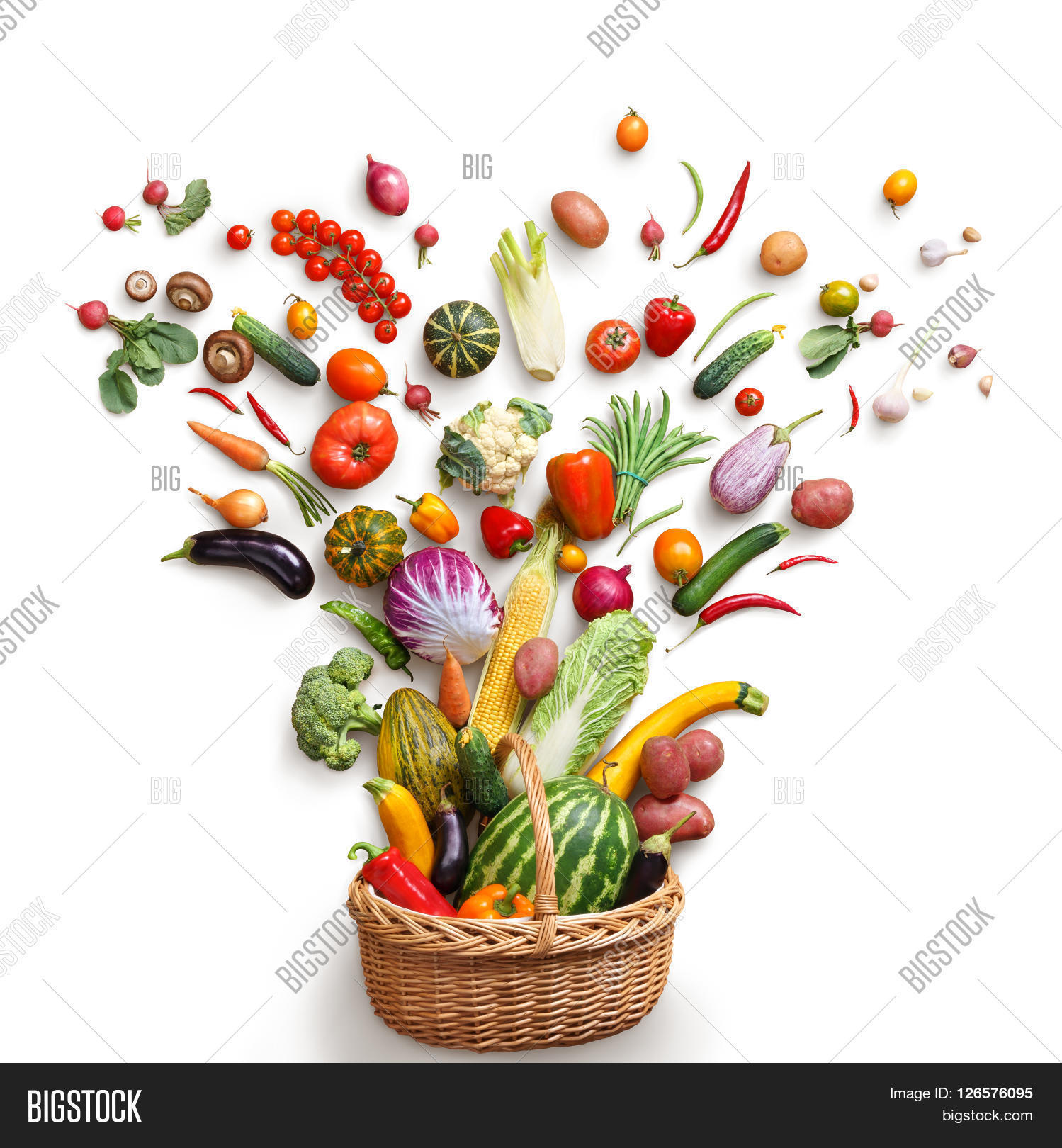 Food background studio photo of different fruits and vegetables - Healthy Food In Basket Studio Photography Of Different Fruits And Vegetables Isoleted On White Backdrop