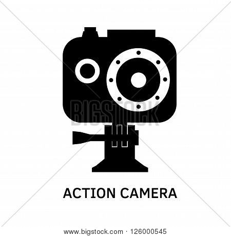 Action camera icon - black vector extreme video cam symbol in waterproof case.