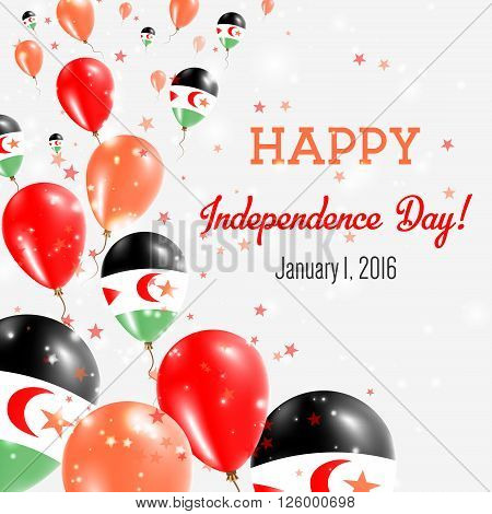 Western Sahara Independence Day Greeting Card. Flying Balloons In Western Sahara National Colors. Ha