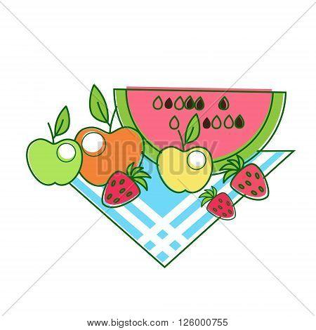 Fruit Apples Watermelon Strawberry On Napkin Thin Line Vector Illustration