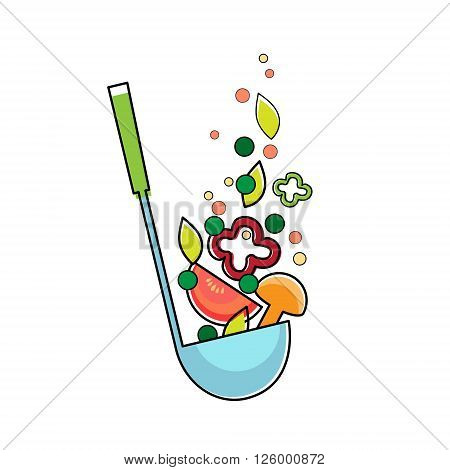 Soup Ladle With Vegetables, Kitchen Spoon Flat Vector Illustration