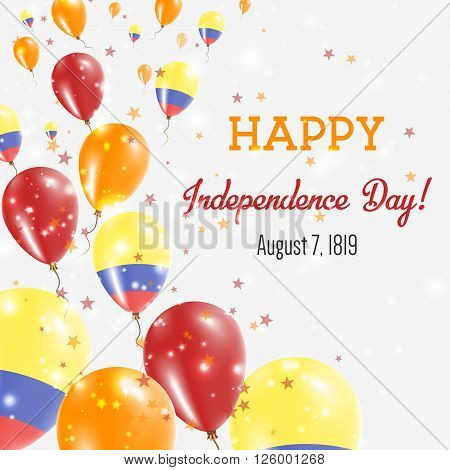 Colombia Independence Day Greeting Card. Flying Balloons In Colombia National Colors. Happy Independ