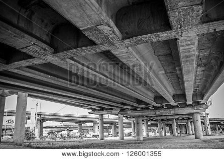 under the bridge shooting. black and white.