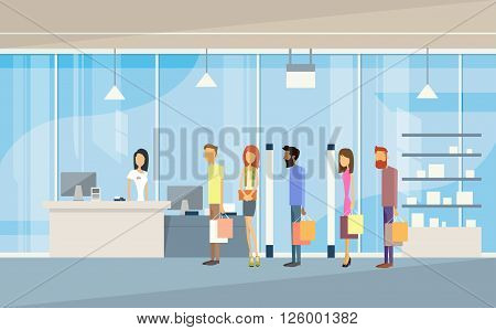 Shop People Group With Bags Line Cash Desk Shopping Mall Interior Customers Flat Vector Illustration