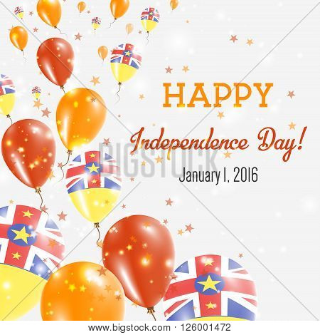 Niue Independence Day Greeting Card. Flying Balloons In Niue National Colors. Happy Independence Day