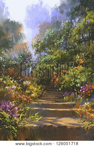 stone staircase in wood with colorful flowers, illustration painting